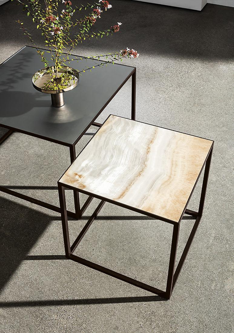 Quadro tavolino con piano in ceramica onice oro e specchio acidato