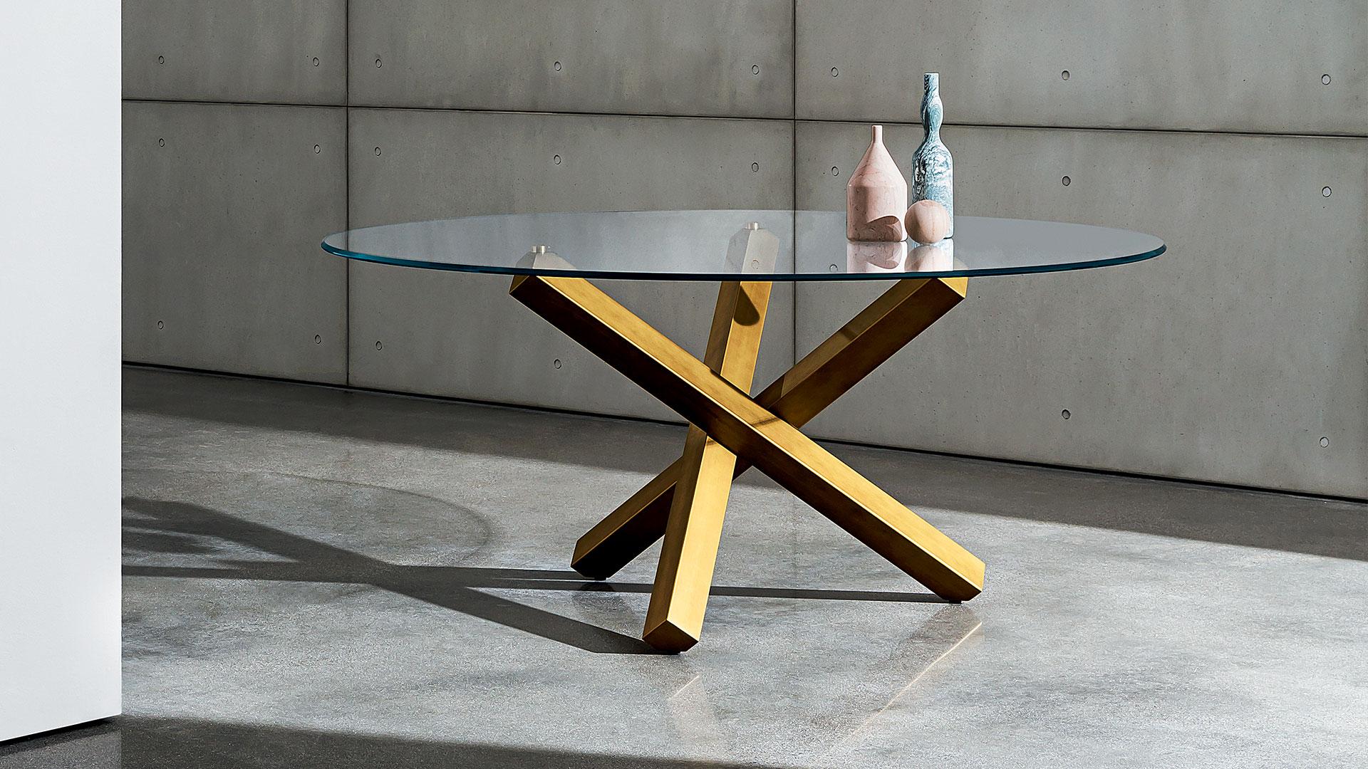 Ceppo Di Legno Tavolino aikido | tavolo rotondo in vetro di design - sovet