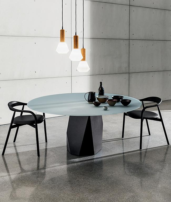 Deod dining table with black metal base and top in frosted glass lacquered cement